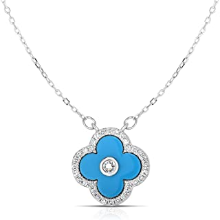 Unique Royal Jewelry Solid 925 Sterling Silver Cubic Zirconia Four Leaf Clover Pendant and Adjustable Length Necklace 16
