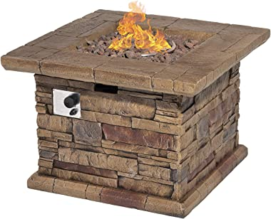 Outdoor Propane Burning Fire Pit, Square Stonecrest Patio Fire Table 50,000 BTU w Lava Rocks, Waterproof Cover