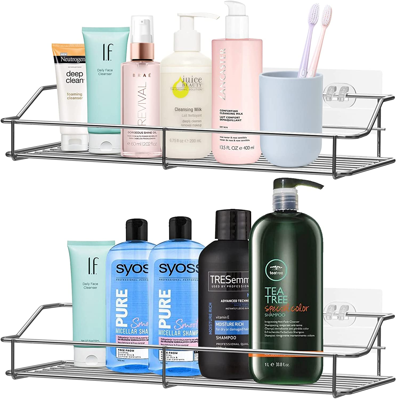 YYjop Shower Caddy Basket Shelf 2 Adhesive Long-awaited Washington Mall No Bat Drilling Pack