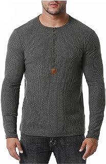 HEFASDM Men's Fall Winter Crew Neck Henley Long Sleeve Tees Shirt Top