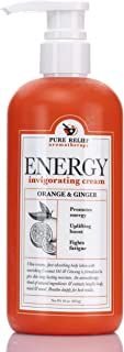 Orange-and-Ginger Energy Body Cream – Aromatherapy Body Lotion with Coconut Oil, Ginseng Oil, Shea Butter – Hydrating Natu...