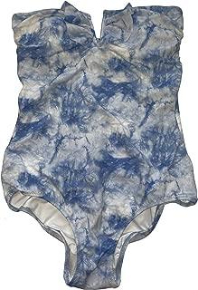 One-Piece Swimwear Plunge V-Front Blue Tie Dye S Bathing Suit