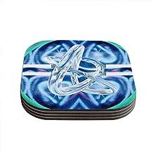 """قواعد أكواب """"نيو إيرا"""" تصميم انفينيت بخاخ آرت، باللون الأزرق المخضر (مجموعة من 4 قطع) من كيس إنهاوس، 10.16 سم × 10.16 سم، ..."""