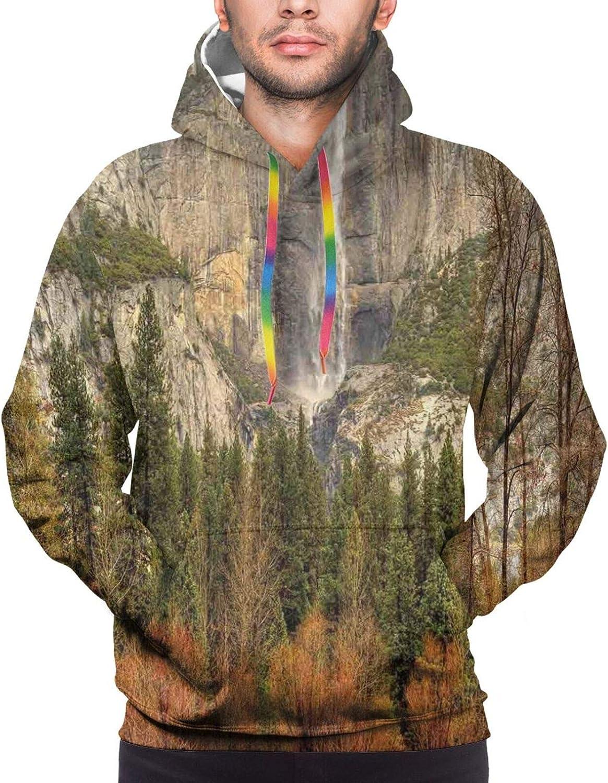 TENJONE Men's Hoodies Sweatshirts,Yosemite Falls Mountain Sunshine Trees Dramatic Natural Wilderness Landscape