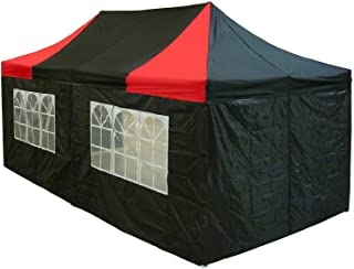 10'x20' Pop up 6 Walls Canopy Party Tent Gazebo Ez Black/Red - E Model BY DELTA Canopies