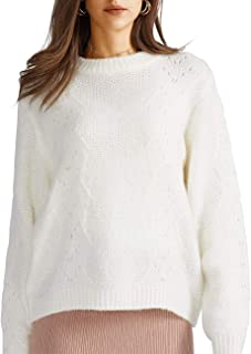 Women's Pullover Sweater White Casual Crewneck Hollow Jumper Outwears