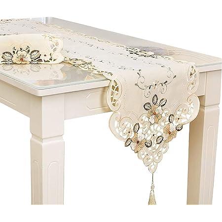 Rehomy Chemin de table 40 x 196 cm, lavable - Décoration vintage brodée de fleurs pour la maison, les fêtes, les banquets et autres événements.