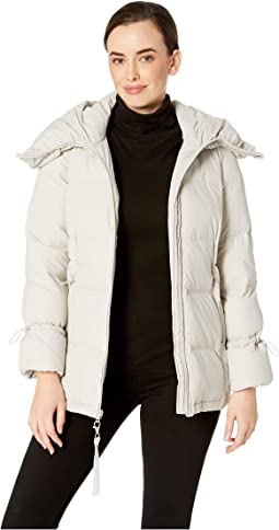 Soft Touch Stretch Down Channel Quilt Coat with Oversized Hood