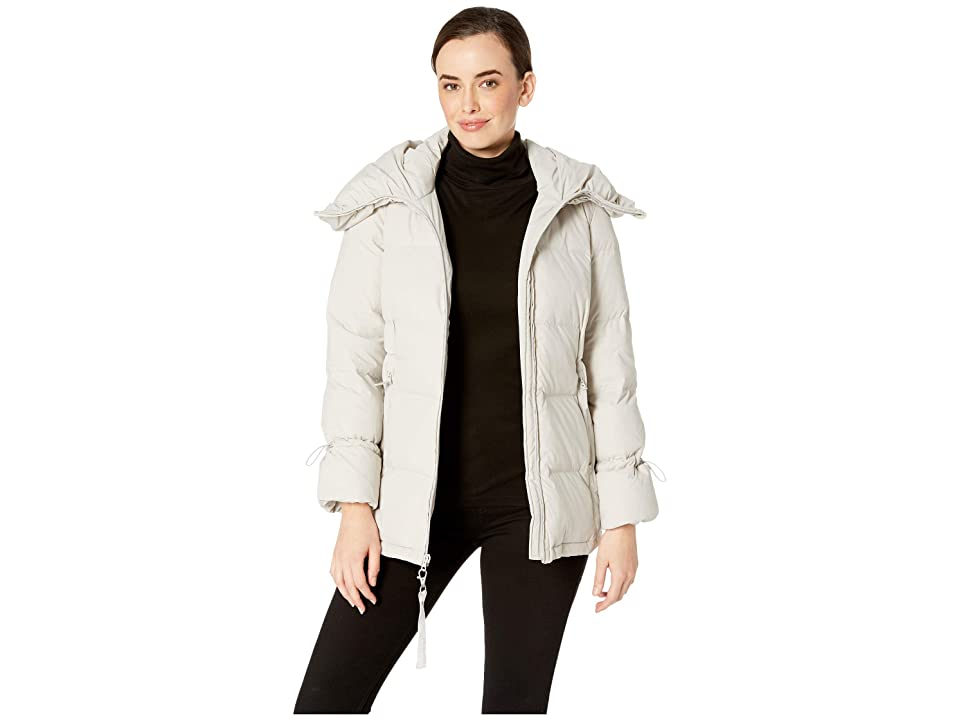 Cole Haan Soft Touch Stretch Down Channel Quilt Coat with Oversized Hood (Vapor) Women