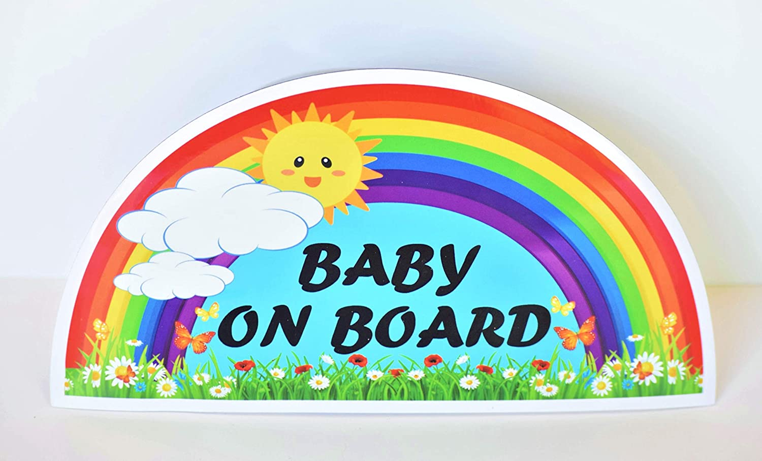 CHUBBYCHEEKS Baby on Board Magnet Sign for Car, Water Resistant, Weather Resistant with UV Protected Film (Rainbow)