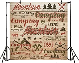Leyiyi 8x8ft Photography Backdrop Vintage Mountain Camping Background Grunge Graffiti Wooden Board 1978 Ax Boy Scout USA Army East Coast Expedition Forest Tent Photo Portrait Vinyl Video Studio Prop