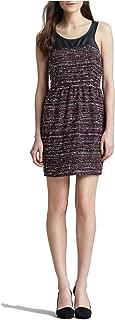 Leather-Top Tweed Dress