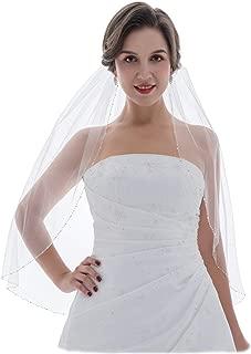 SAMKY 1T 1 Tier Crystals Silver Beaded Wedding Veil
