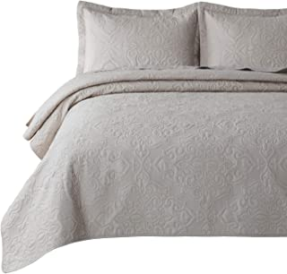 Bedsure Quilt Set Greige Queen/Full Size(90x96 inches) - Damask Embroidered Pattern Bedspread - Soft Microfiber Lightweight Coverlet for All Season - 3 Pieces (Included 1 Quilt, 2 Shams)