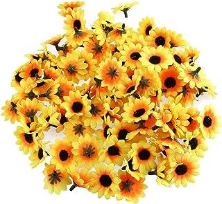 BinaryABC Artificial Sunflower Heads,Plastic Sunflower Heads,Artificial Daisy Flower Heads,100 Pcs
