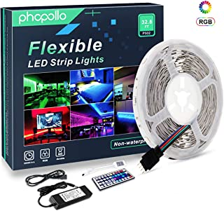 PHOPOLLO LED Strip Lights, 16.4ft 5m RGB Color Changing SMD 5050 150leds Flexible LED Tape Kit with 44-Key IR Remote Ideal for Home Bedroom Kitchen and Party, 12V Power Supply