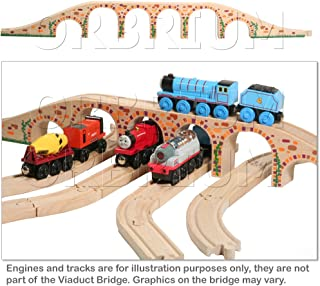 Orbrium Toys 6 Arches Viaduct Bridge for Wooden Railway Track Fits Thomas Trains Brio set