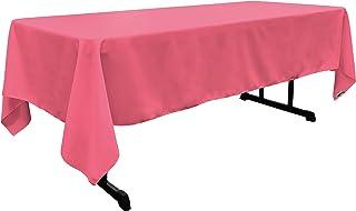 "LA Linen Polyester Poplin Rectangular Tablecloth, 60"" x 126"", Hot Pink"