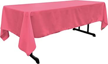 LA Linen Polyester Poplin Rectangular Tablecloth, 60 by 120-Inch, Hot Pink
