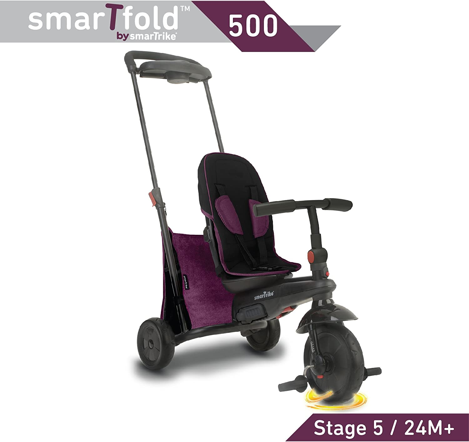 smarTrike smarTfold 500 Folding Baby Tricycle for 1 Year Old, Purple