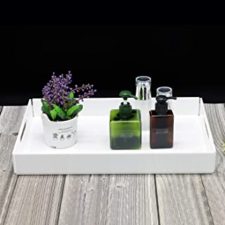Acrylic Decorative Tray,Attractive Vanity Serve Tray,Large Letter Tray For Potted Plant,Cosmetic,Office Supplies,White