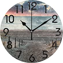 Naanle 3D Famous Sea Beach Path at Sunset Print Round Wall Clock Decorative, 9.5 Inch Battery Operated Quartz Analog Quiet Desk Clock for Home,Office,School