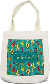 Ambesonne Fruit Tote Bag, Tutti Frutti Lettering on Doodle Summer Natural Foods Backdrop, Cloth Linen Reusable Bag for Shopping Books Beach and More, 16.5