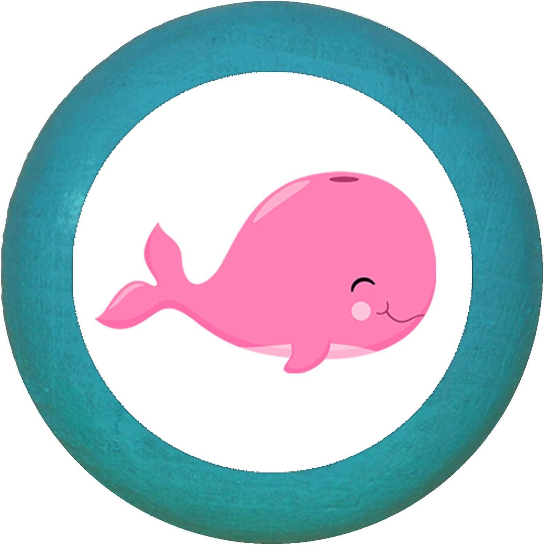 35 x 30 mm rosa motivo balena azzurro chiaro Pomello per mobili in legno massiccio di faggio per bambini bianco Traum blu blu pastello