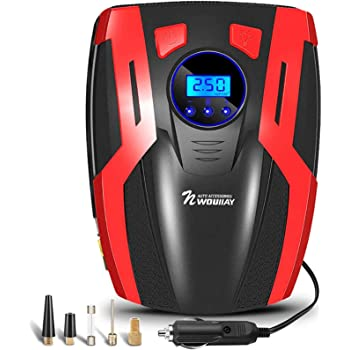 Suaoki RCP - Compresor de aire digital, bomba inflador portátil con luz LED (12V, 100 PSI, 2 adaptadores boquilla, 0.47m aire manguera, 3m cable con mechero, para neumáticos, objetos inflables): Amazon.es: Coche