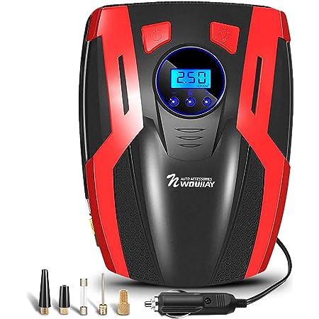 Nwouiiay Auto Luftpumpe Elektrisch Digital Kompressor Für Reifen Mit Hinterleuchtetem Lcd Digitalbildschirm 150psi 35l Min Beleuchtung Multifunktion Für Pkw Motorräder Auto