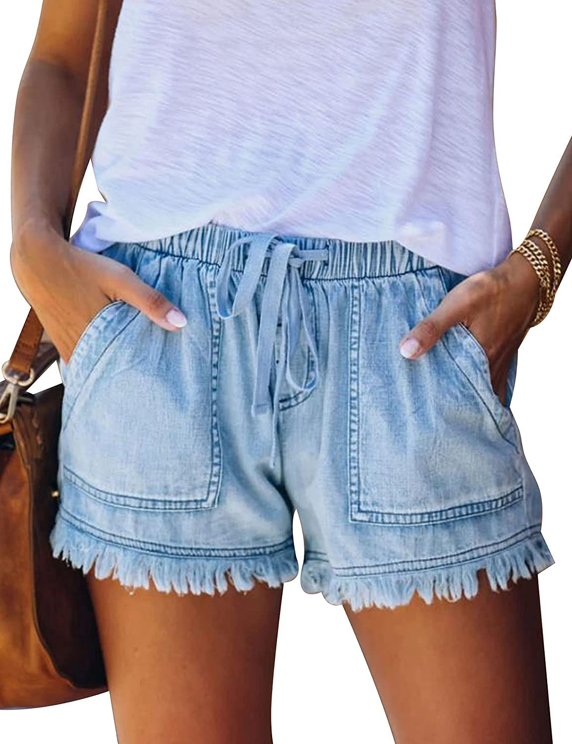 Lentta Women's Denim Shorts Casual High Waisted Frayed Jeans Shorts with Pockets