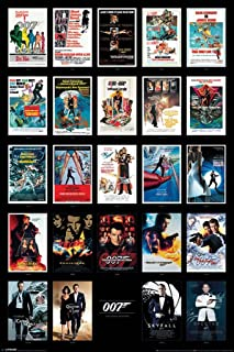 Pyramid America James Bond 007 Spy Film Movie Series Franchise 24 Movies Collage Casino Spectre Cool Wall Decor Art Print Poster 24x36
