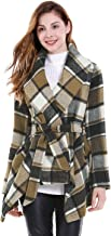 Allegra K Women's Turn Down Collar Asymmetric Hem Thin Plaids Wrap Coat