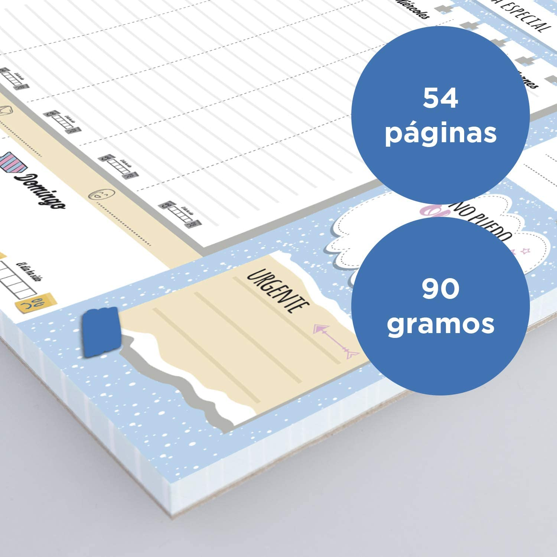 Estampado Azul Calendario Semanal 2021 MP A4 Planificador Semanal Magn/ético