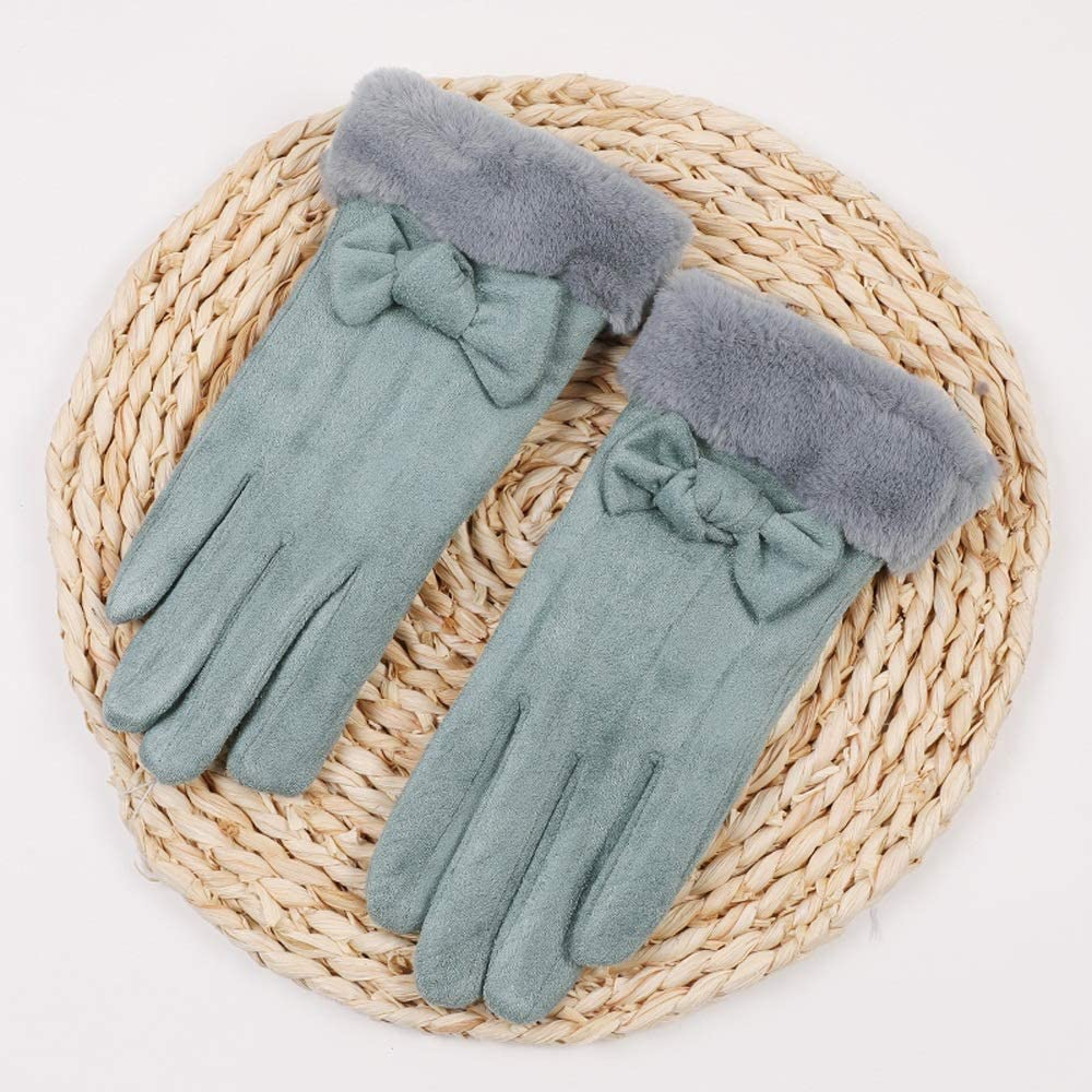 HQSW JL BC Winter Plus Thick Velvet Warm Gloves Outdoor Cycling Gloves Cute Female Velvet Touch A+++ (Color : B)