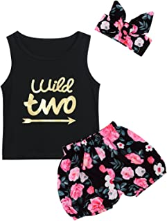 Baby Girls Wild One Outfit Set Birthday Floral Tops Pant Clothing Set