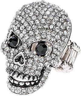 Szxc Jewelry Women's Crystal Skull Stretch Rings Biker Jewelry