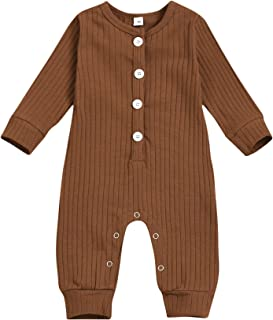 Newborn Baby Boy Girl Button-Down Knitted Romper Striped Jumpsuits One Piece Jumpsuits Pajamas Overalls Sweater Outfits