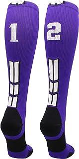 MadSportsStuff Purple Player ID Custom Number Over The Calf Socks for Softball Baseball Football Boys and Girls