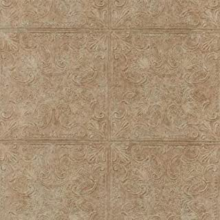 York Wallcoverings PA131204 Weathered Finishes Tin Tile Wallpaper, Cork Brown/Red Berry Stain/Dark Chocolate