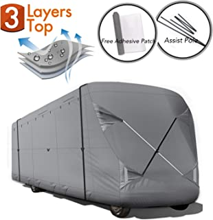 XGEAR 2019 Upgraded Easy Setup Thick 3-Ply Top Panel Class C Cover- Ripstop Waterproof RVs Covers with Storage Bag and Assist Pole (ClassC 26'-29')