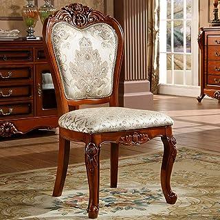 L-WSWS Silla de comedor Silla de comedor de madera maciza Tela Silla retro americana comedor tallado simple unidad de la silla 2 Piezas for las sillas de la cocina del hogar (Color: Marrón, Tamaño: 52