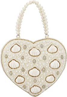 Heart Shape Vintage Style Pearl Tote Bag Wrist Bag Evening Clutch Wedding Purse for Women & Girls