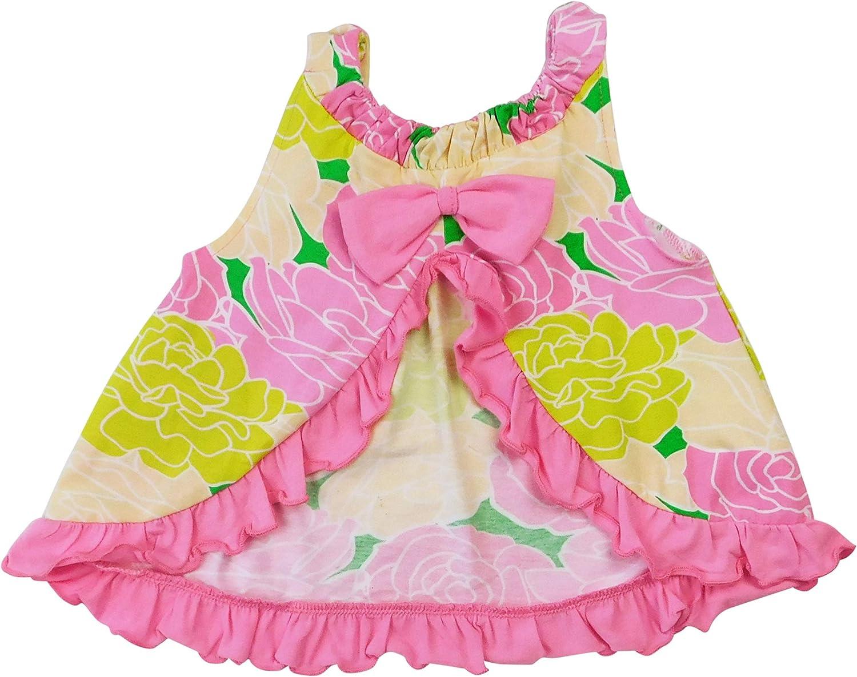 AnnLoren Baby/Toddler Girls Open Back Swing Tank Top with Bow Precious Floral Design 3-6 mo 6-12 mo 12-24 mo