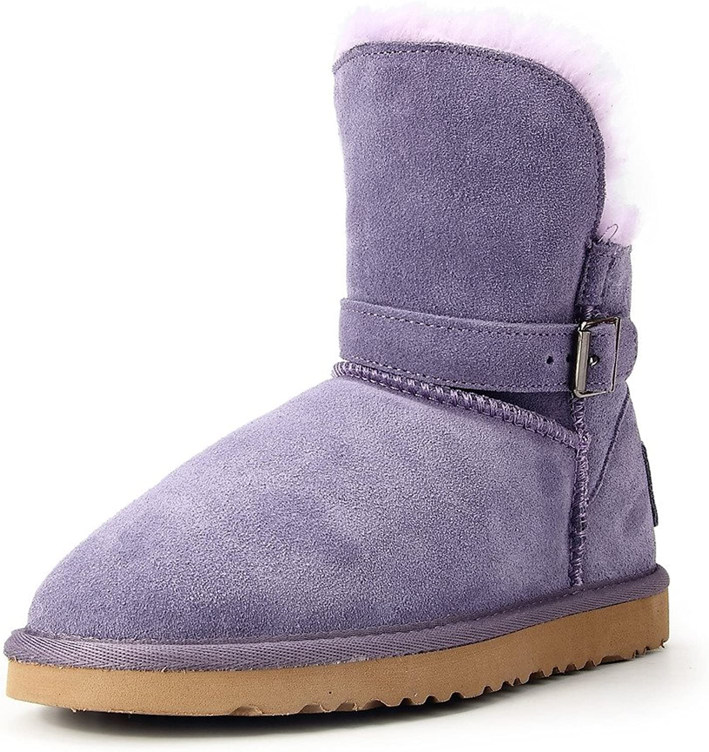 AUSLAND Women's Cowhide Leather Snow Boots Buckle Footwear 9527 Lavender 9.5US 40