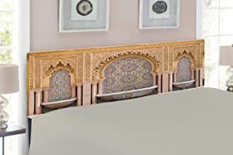 Ambesonne Moroccan Headboard, Typical Moroccan Tiled Fountain in The City of Rabat Near Hassan Tower, Upholstered Decorative Metal Headboard with Memory Foam, for Queen Size Bed, Apricot Pale Brown