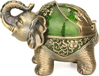 Stand Elephant Decorative Windproof Ashtray with Lid for Cigarettes Metal Portable Cigar Smoking Ashtray for Indoors Outdo...