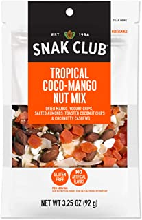 Snak Club Tropical Coco-Mango Nut Mix, Gluten Free, Non-GMO, 3.25-Ounces, 6-Pack