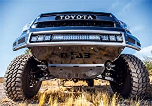 N-Fab T071MRDS Gloss Black M-RDS Front 1pc Radius Bumper with Integrated Silver Powder Coated Aluminum Skid Plate Included Black-T071MRDS