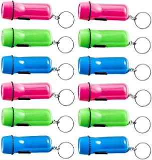 Mini Flashlight Keychain - 12 Pack Assorted Colors, Green, Light Blue And Pink, Batteries Included - For Kids, Party Favo...